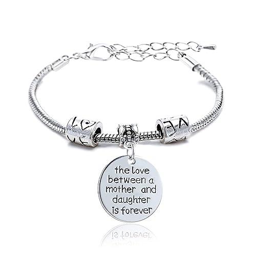 taglia 40 ab8f2 31545 Braccialetto, con charm rotondo con scritta Love e l'incisione di un cuore  e ciondolo mamma e figlia, in lega di argento, regalo per famiglie e donne