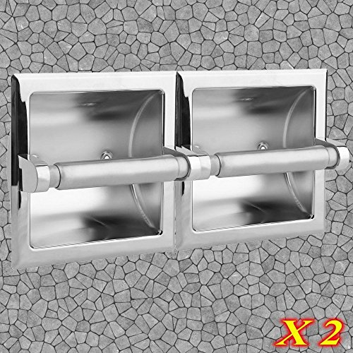 Moon Daughter 2Pcs Recessed Toilet Paper Holder - Polished Chrome Modern Luxury Bathroom Tissue by Moon_Daughter (Image #8)