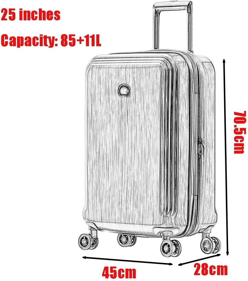 20 inches, 25 inches Z/&YY Trolley Box Checked Suitcase Suitcase Men and Women Casual Suitcase Trailer Box Tide TSA Password Lock Retractable Universal Wheel Steel Gray
