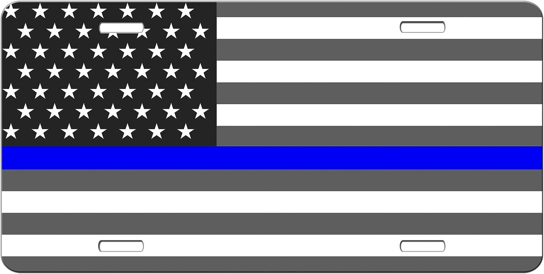 SimplyCustomized Delgada línea Azul Americano Bandera License Plate – Back la Azul Coche Etiqueta tocador Placa Delgada línea Azul Policía Apoyo: Amazon.es: Coche y moto