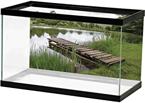 Wooden Bridge Decor Collection Seabed World Backdrop Ancient Italian Street in Small Provincial Town of Tuscan Italy Europe One Side Fish Tank Green Brown L72 X H24 Inch
