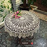 FADFAY Home Textile,Delicate Crochet Table Decoration,Modern European Style Hollow Out Overlay Tablecloth,Fashion Handmade Round Kitchen Table Covers