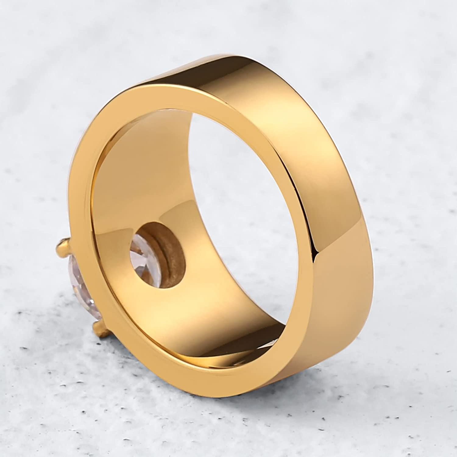 Bishilin Stainless Steel Ring Men 1CM with Zirconia High Polished Round Width 10 MM Wedding Band Him