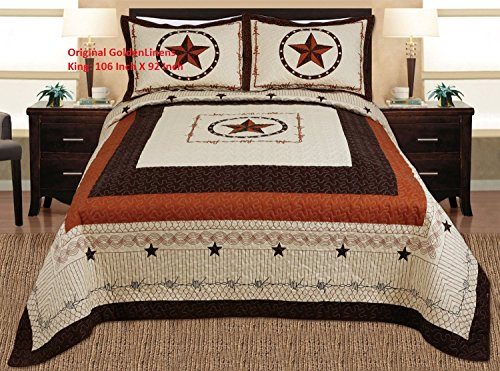 Western King Bed - 3-piece Western Lone Star Barb Wire Cabin / Lodge Quilt Bedspread Coverlet Set King / Cal King Size Beige, Brown, Black