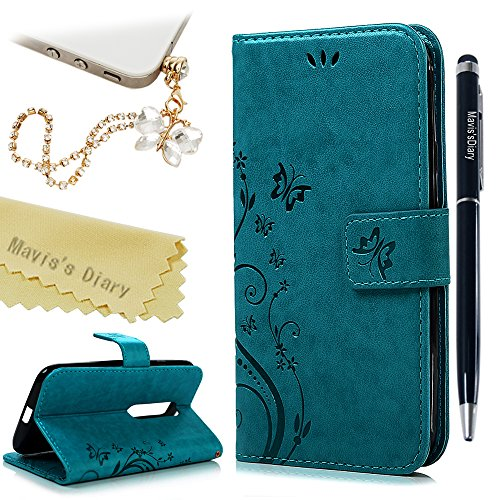 Price comparison product image Moto G3 (3rd Generation) Wallet Case - Mavis's Diary Premium Leather with Fashion Floral Flip Cover for Motorola MOTO G3 3 3rd Generation (Released on 2015) with Butterfly Dust Plug & Pen - Blue