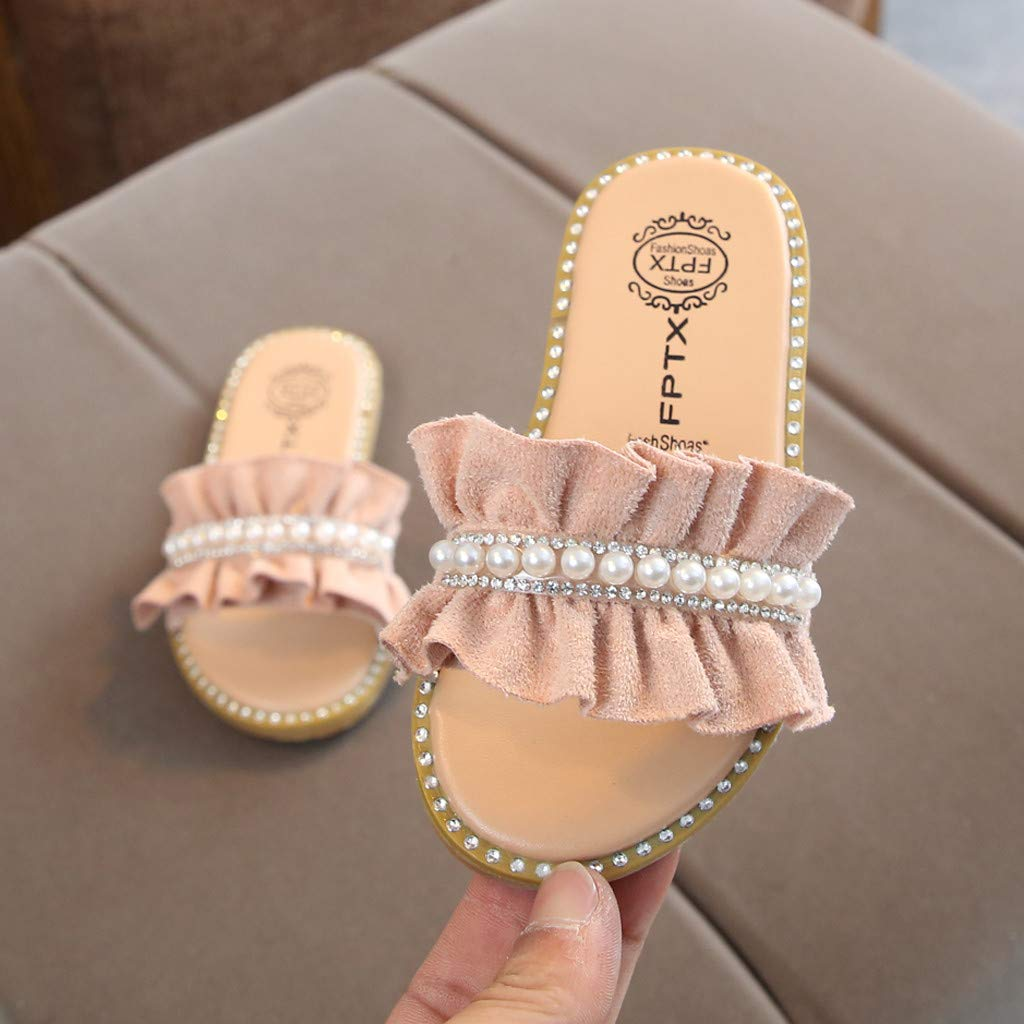 Toddler Kids Sandals Shoes Flip-Flop Pearls Crystal Ruffles Princess Shoes Sandals Slippers Memela
