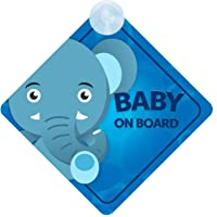 Baby Elephant on Board Car Sign (Baby on Board) Boy or Girl Children's Non Personalised Animal Theme