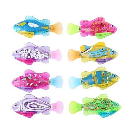 Vanker Azar Pez Al Mágico Juguete De Bebé Baño Pescado Robot Color Luz Activado 34jL5AR