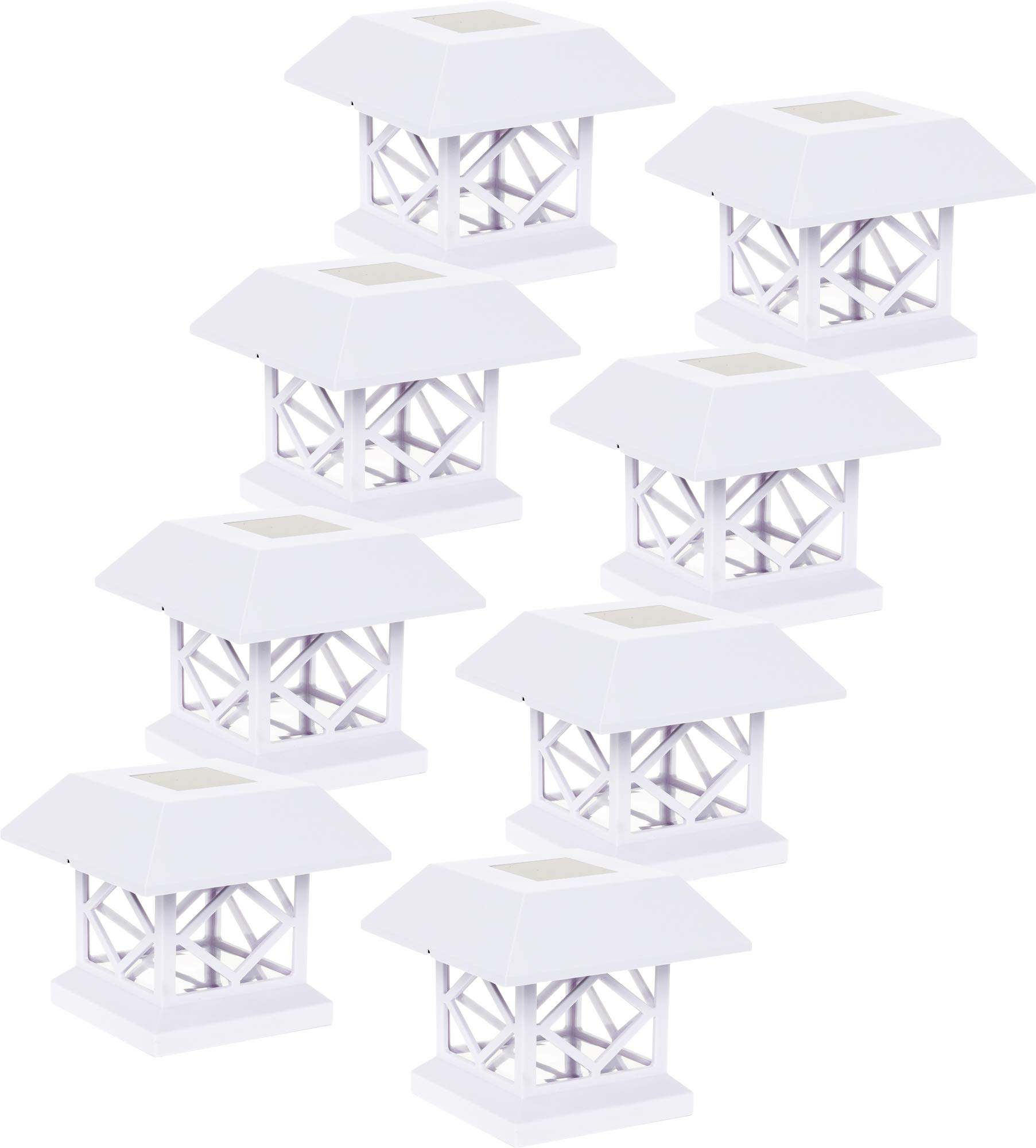 GreenLighting Outdoor Summit Solar Post Cap Light for 4x4 Wood Posts 8 Pack (White)