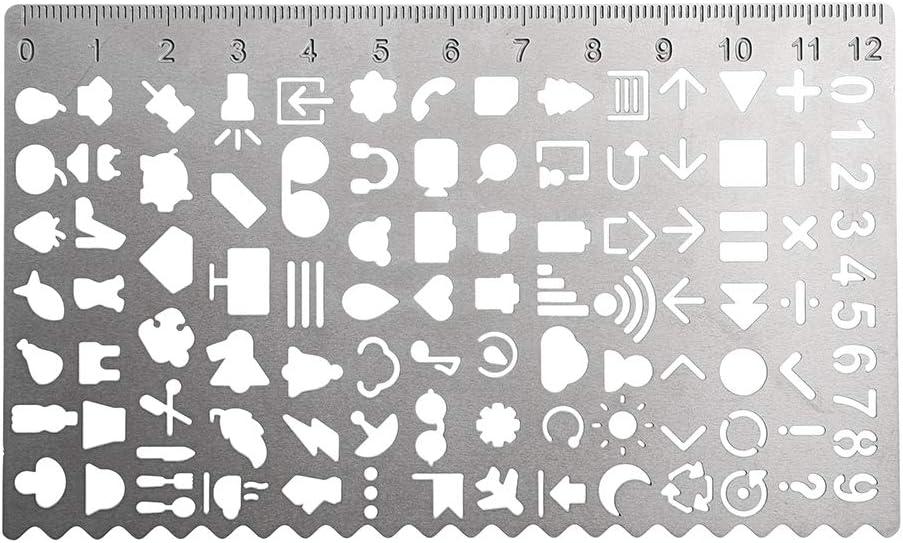 righello segnalibro BSTKEY set di 6 righelli creativi in metallo traforato stencil da disegno diario scrapbooking materiale scolastico per studenti grafici kit fai-da-te per pianificazione