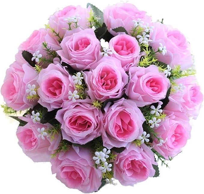 1x Weich Künstliche Rosen Blumen Strauß Kunstblumen Hochzeit Geschenk-Dekor