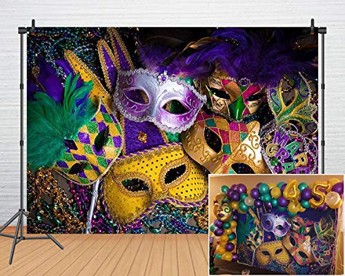 Mardi Gras Party Decoration Carnival Photography Backdrop Mystery Masquerade Backgrounds Dancing Birthday Party Banner Photo Booth for Wedding Bachelorette Party Decorations(8x6FT) 061