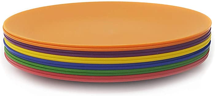 Plastic Plates set of 12- Unbreakable and Reusable 9.875 inch Dinner Plates,Multicolor|Dishwasher Safe,BPA Free