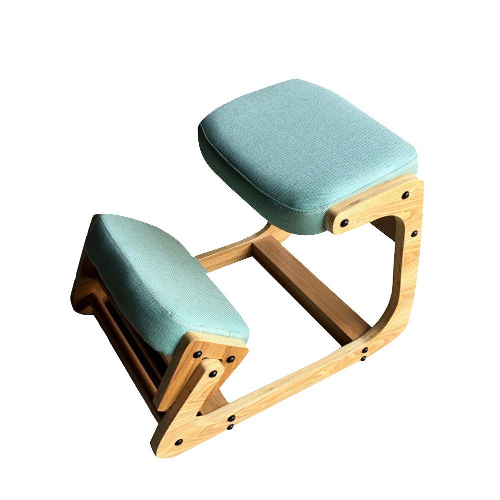 PENGFEI 人間工学に基づいた膝の椅子 チェア 整形外科 事務所 コンピューター 十代の若者たち 矯正姿勢 ザトウクジラを防ぐ 近視の予防 高さ調節可能 無垢材 リネンクッション、 6色があり、 46x71x53CM (色 : ライトブルー) B07C26T8FH ライトブルー ライトブルー