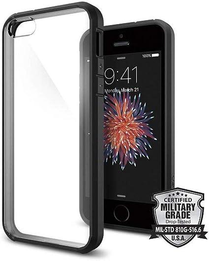 Spigen Coque iPhone Se (2016) / 5S / 5 [Ultra Hybrid] Bumper Noir, Dos Transparent Rigide, Protection Air Cushion aux 4 Coins, Compatible avec iPhone ...