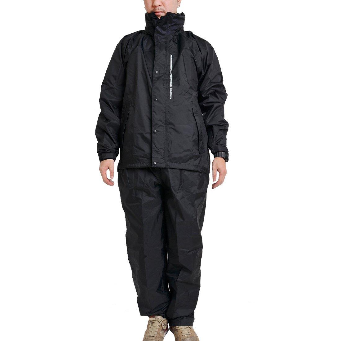 レインウェア 上下 メンズ レディース 蒸れにくい 透湿レインスーツ レインコート 上下セット セット 作業着 合羽 7740 日本素材 さらさら 裏メッシュ B079SYRF92 3Lサイズ|ブラック ブラック 3Lサイズ