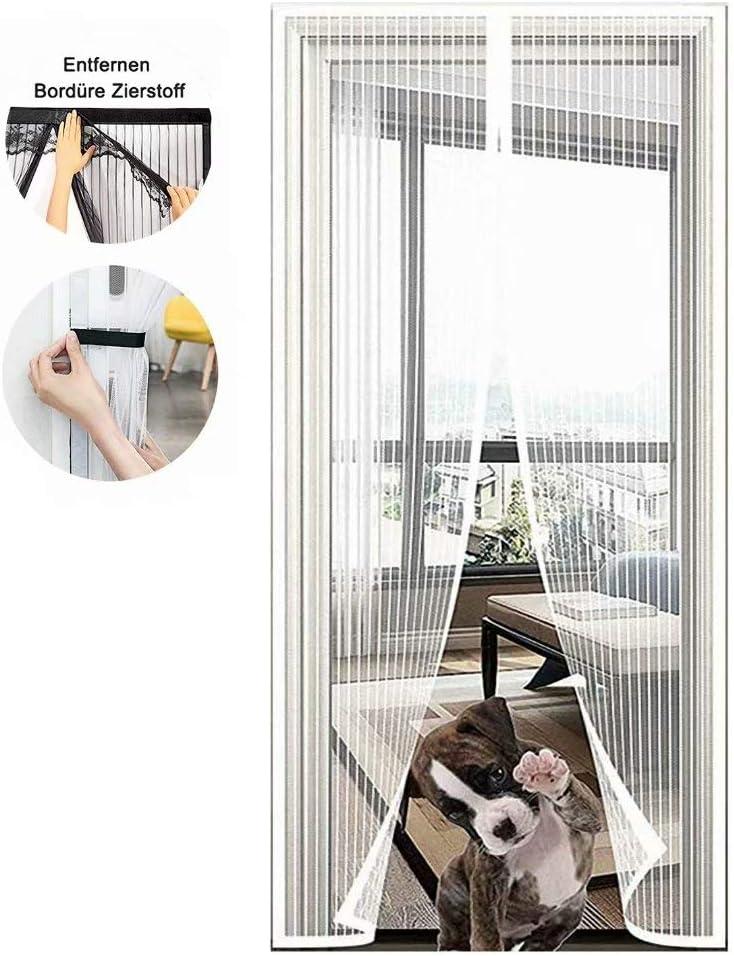 Mosquitera magnética para puerta, cierre automático con malla resistente y marco completo de velcro sin agujeros, para puerta de balcón, salón, terraza, color blanco, 120 x 210 cm