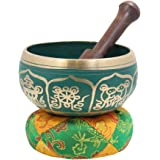 DharmaObjects Gorgeous Meditation 8 Lucky Symbols Singing Bowl/Cushion/Mallet (Green)