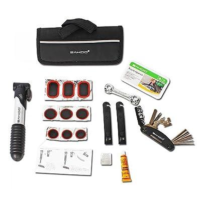 16en 1pour outil multifonctions Kit de réparation pneu de vélo avec mini pompe portable