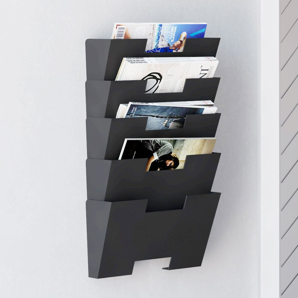 hanging wall file folder steel magazine newspaper rack holder cascading wall organizer 5 pack black nice wall hanging office organizer 4