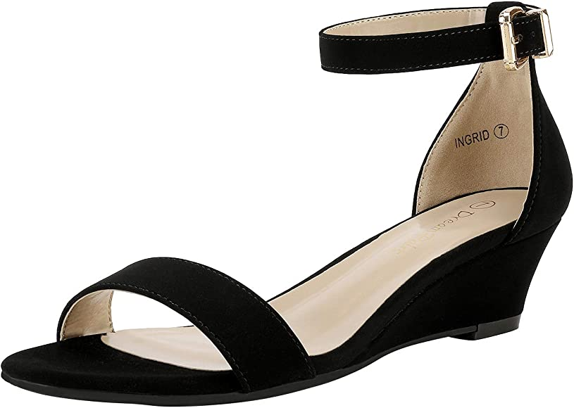 Ankle Strap Low Wedge Sandals
