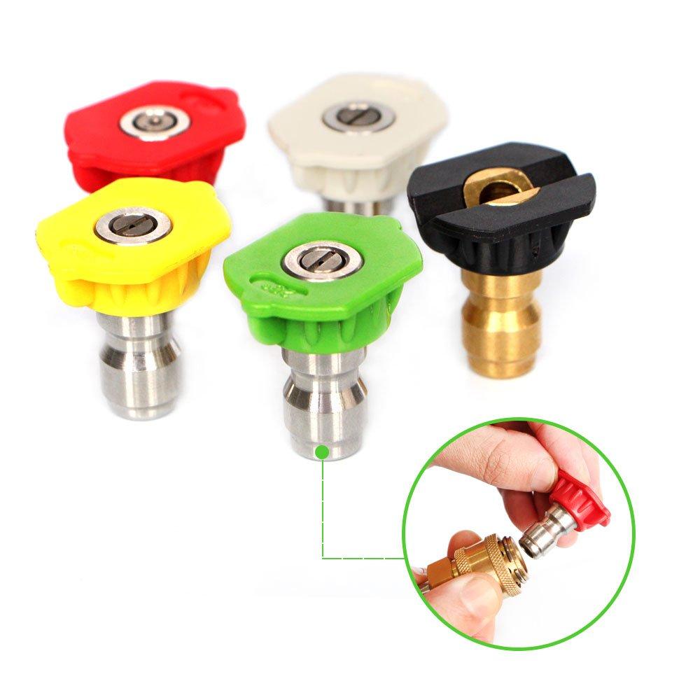GCGZ 5pcs/1 Set 1/4' Quick Connector Car Washing Nozzles Metal Jet Lance Nozzles