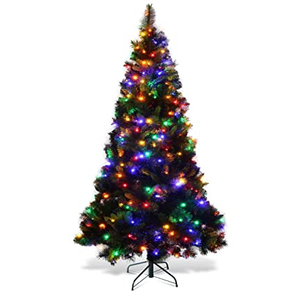 goplus 7ft pre lit christmas tree wstand holiday season led multicolor lights pvc