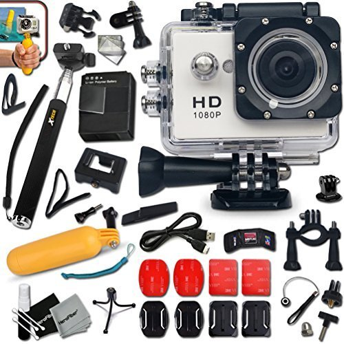 KoolCam AC200 HD 1080p Waterproof ACTION Camera / Camcorder for KIDS and Adults with a Super 140 degree Wide angle Lens KIT Includes: Handheld Extendable MONOPOD Pole + Hermetically Sealed Floating Bobber + Adjustable Bike Mount + Long Life Battery + USB  by Xtech
