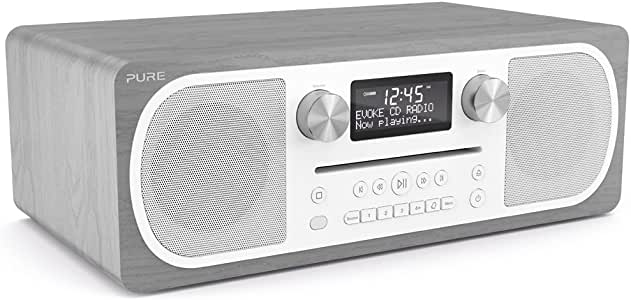 Pure Evoke C-D6 All-in-One Music System with DAB/DAB+/FM Digital Radio – DAB Radio with Bluetooth Music Streaming, Dual Alarms and CD Player – Grey Oak