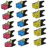 HOTCOLOR Value Bundle 15 Color Cartridges (5 CYAN + 5 MAGENTA +5 YELLOW) LC75/LC79 LC-75 Ink -BrotherMFC-J430W,MFC-J5910DW,MFC-J625DW,MFC-J6510DW
