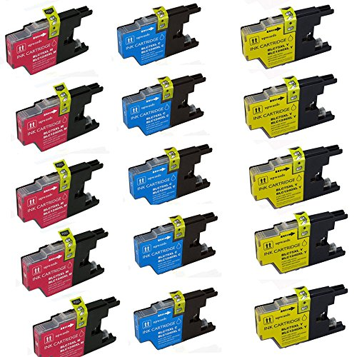 HOTCOLOR Value Bundle 15 Color Cartridges (5 CYAN + 5 MAGENTA +5 YELLOW) LC75/LC79 LC-75 Ink -BrotherMFC-J430W,MFC-J5910DW,MFC-J625DW,MFC-J6510DW