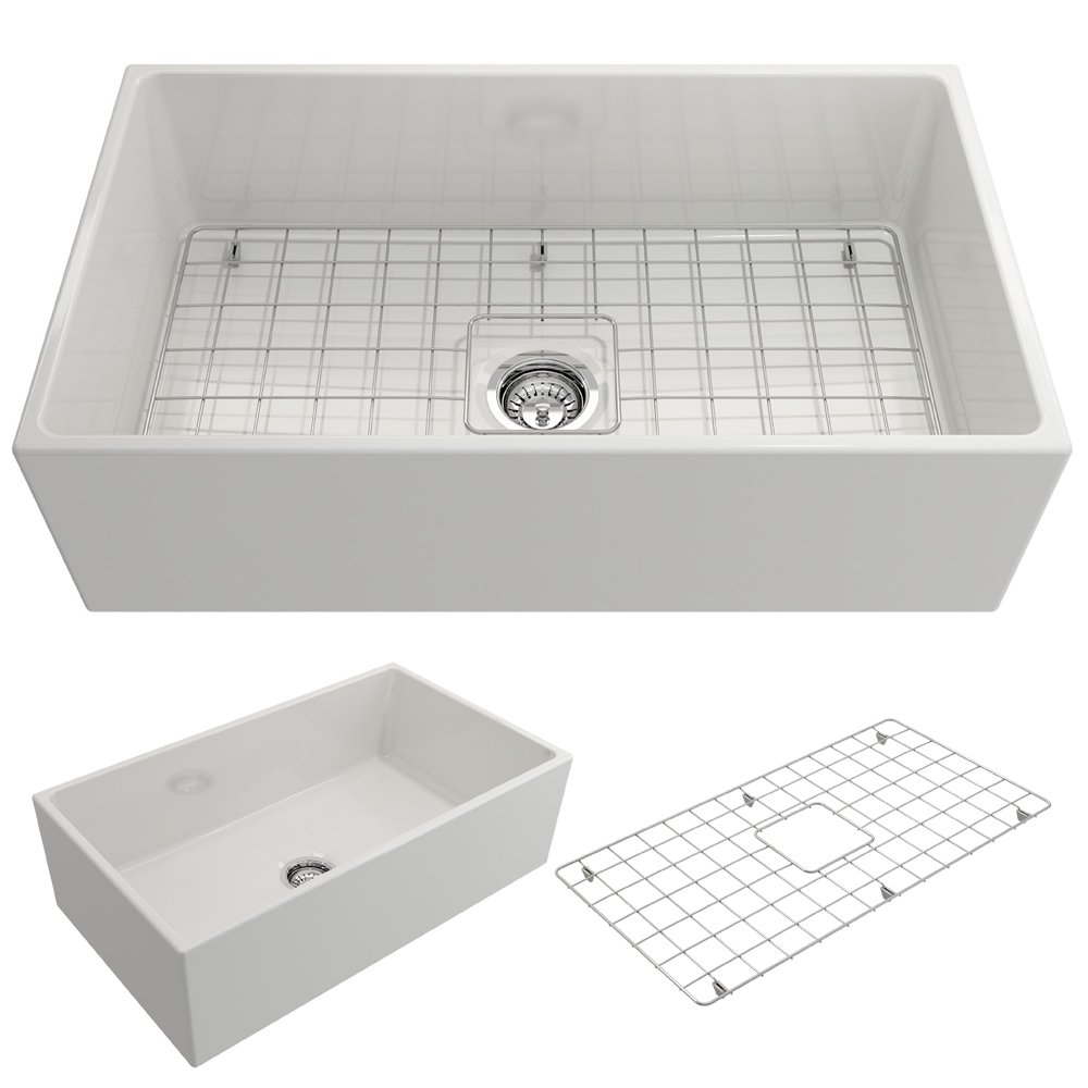 BOCCHI 1352-001-0120 Contempo Apron Front Fireclay 33 in. Single Bowl Kitchen Sink with Protective Bottom Grid and Strainer in White