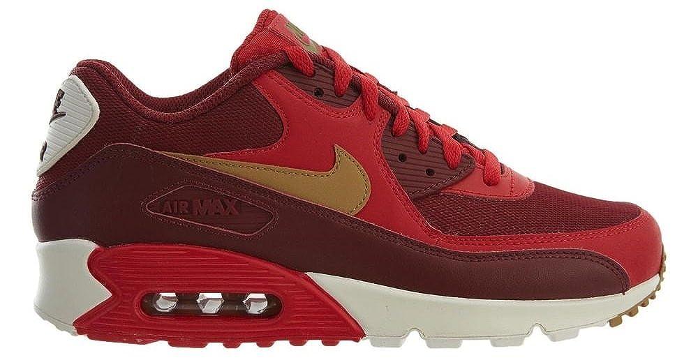 Nike Mens Air Max 90 Essential rojo oro Leather Trainers 42 EU -