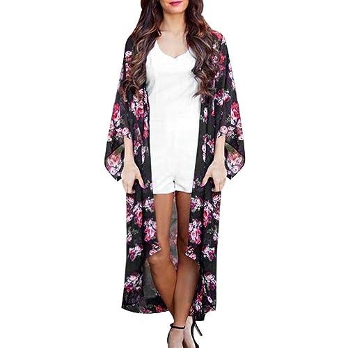 HARRYSTORE Moda Mujer Verano Floral Abierto Cabo Capa Casual Blusa suelta kimono Chaqueta Chaqueta