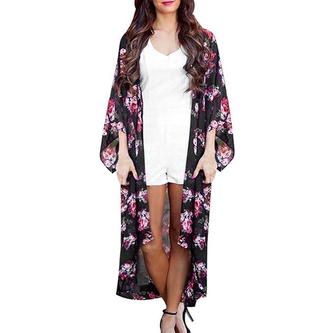 HARRYSTORE Moda Mujer Verano Floral Abierto Cabo Capa Casual Blusa Suelta Kimono Chaqueta Chaqueta (2XL