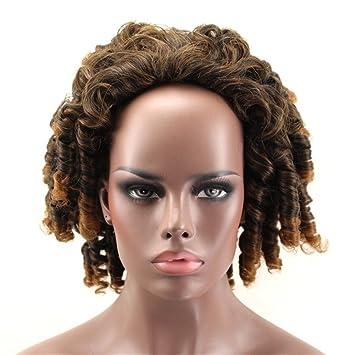 STARWig Afro Corto Kinky Rizado Cabello Pelucas Marrón Rubia Mezcla Color Peluca para Africano Mujer 100