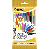 BIC Cristal Multicolour Stylos-Bille Pointe Large (1,6 mm) - Couleurs Assorties, Pochette de 10