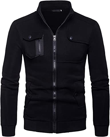 Cottory Mens Casual Assorted Colors Button Stand Collar Jacket
