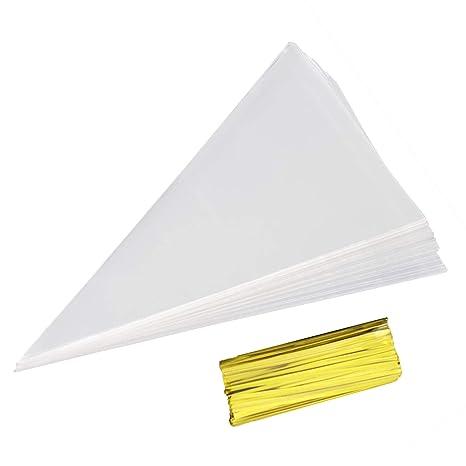 Amazon.com: 100 bolsas de celofán con forma de cono de 7.0 x ...