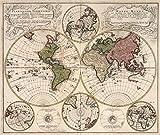 1746 School Atlas   Planiglobii Terrestris Mappa Universalis.   Antique Vintage Map Reprint