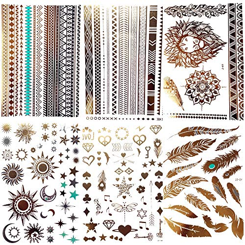 COKTAK 6Pieces/Lot Gold Metallic Temporary Tattoos For Women Bohemian Moon Star Lion Bracelet Body Art Large Boho Fake Jewelry Waterproof Flash Tattoo Sticker Girls Arm Glitter Feather Henna Tatoos ()