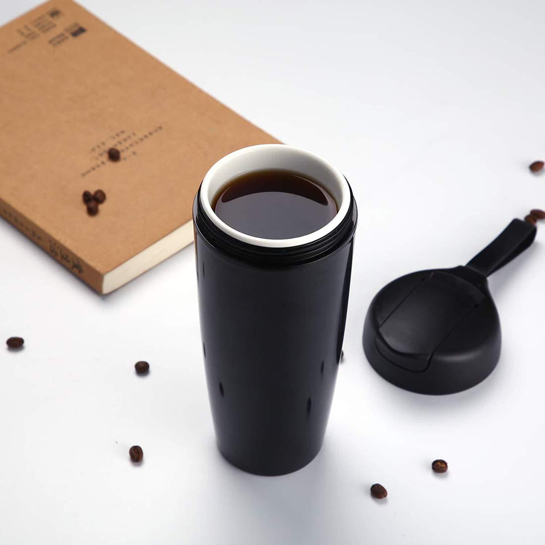 Perfetto per gli amanti delle tazze in ceramica per trasportare caff/è o t/è con loro Tazza da viaggio in ceramica con coperchio a prova di perdite 17 once // 520 ml, Champagne scocca isolata