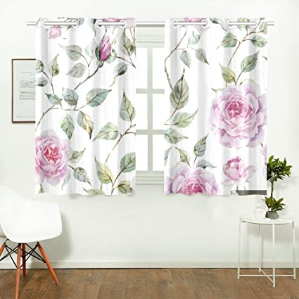 Reopx Wallpaper Flowers Rose Kitchen Curtains Window Curtain Tiers For Café Bath Laundry Living Room Bedroom 26 X 39 Inch 2 Pieces Amazon Co Uk Kitchen Home