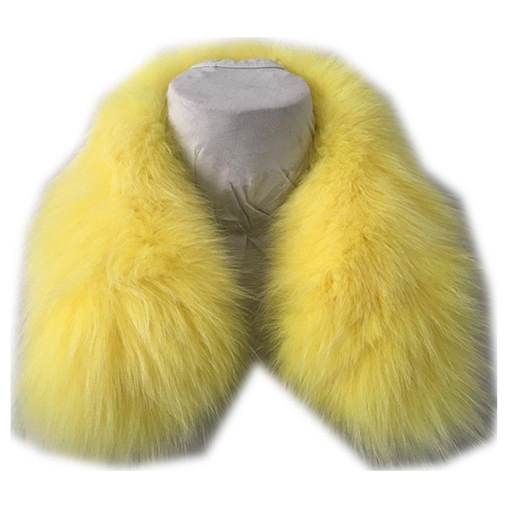 Gegefur Women's Genuine Short Fox Fur Collar Scarf Wrap Shawl Warmer (50cm, yellow-1)