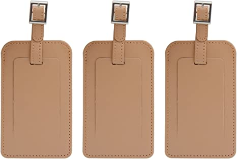 Luggage Tags,Saim Personalized Luggage Tags Leather Case Luggage Bag Tags Travel Tags Set Brown 3Pcs