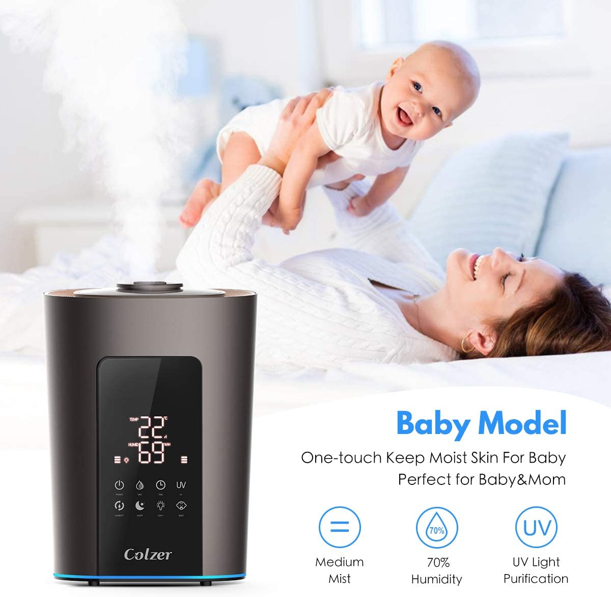 COLZER Top Filling 5L Cool Mist Ultrasonic Humidifier with Adjustable Mist Mode for Bedroom /& Home Baby Kids Whisper-Quiet LED Display,Auto Shut-Off Essential Oil Diffuser(5L//1.3 Gallon 110V