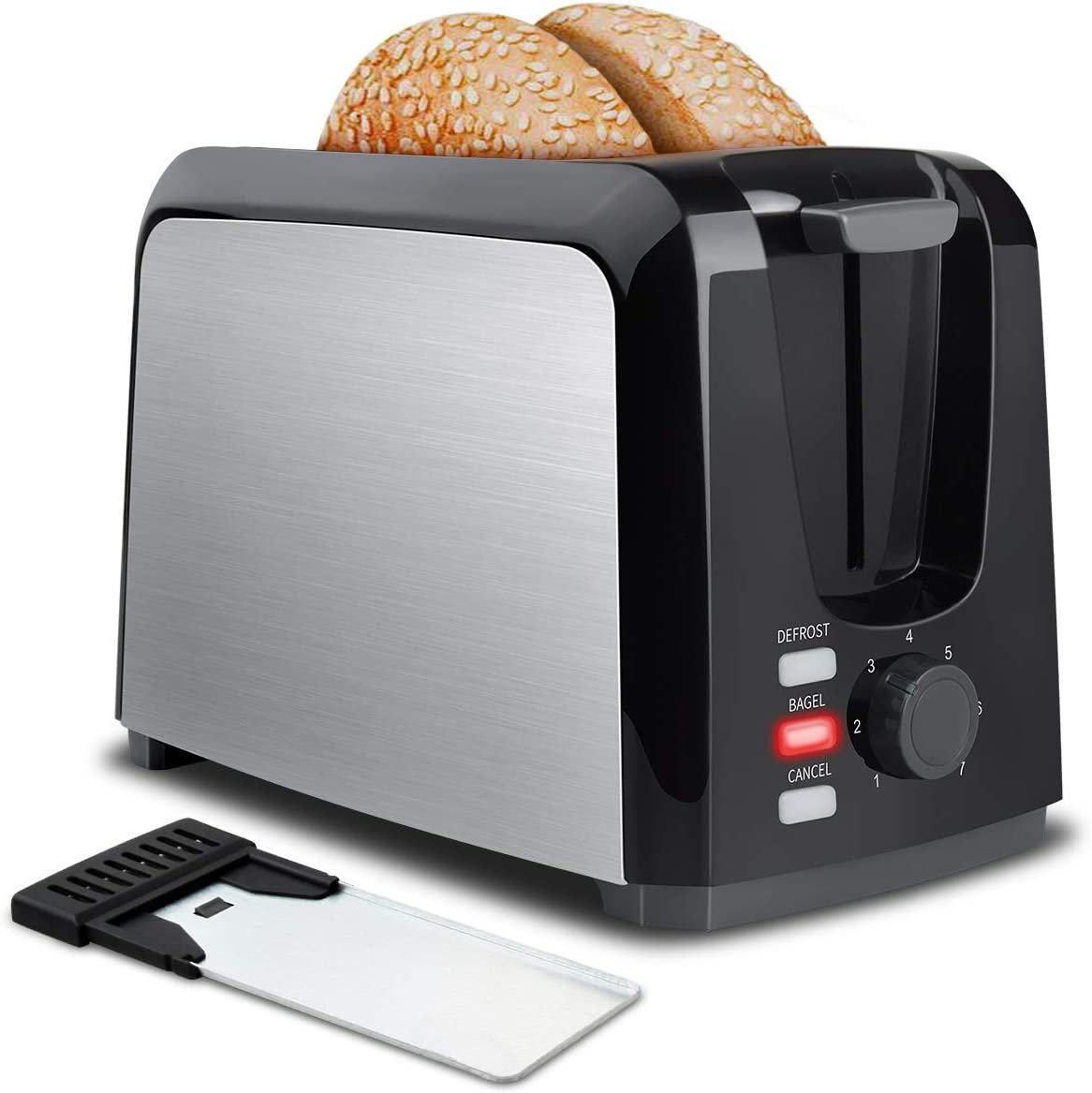 Toaster 2 Slice Toasters 2 Slice Best Rated Prime Toaster Wide Slot with Removable Crumb Tray Two Slice Toaster Stainless Steel Toasters with 7 Bread Shade Settings, Bagel, Defrost, Cancel Function for Bread, Waffles (Renewed)