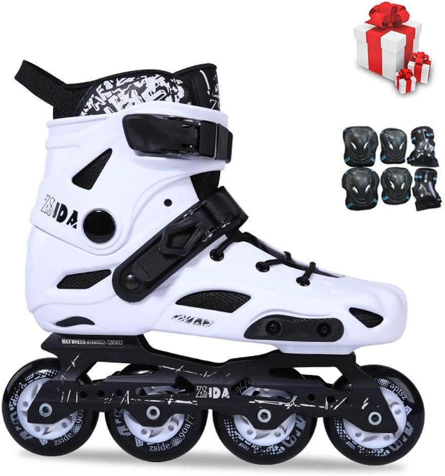 ZHANGHAIMING 男性と女性のインラインスケート靴、成人用プロフェッショナルスピードスケート靴、初心者用の耐摩耗性通気性単列スケート靴、白黒 (Color : 白い, Size : EU 36/US 4.5/UK 3.5/JP 23cm) 白い EU 36/US 4.5/UK 3.5/JP 23cm