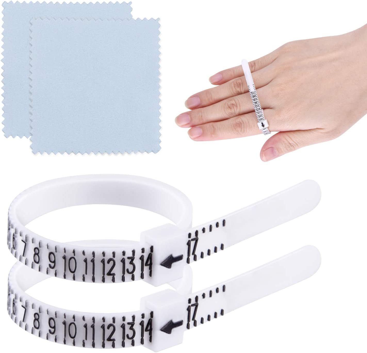 Ring Sizer Finger Measuring Tool Gauge for Men-Women-Kids-Find Check Ring Size to Make Rings or Jewelry Accessory 2 Pack in White 1-17 US /& UK