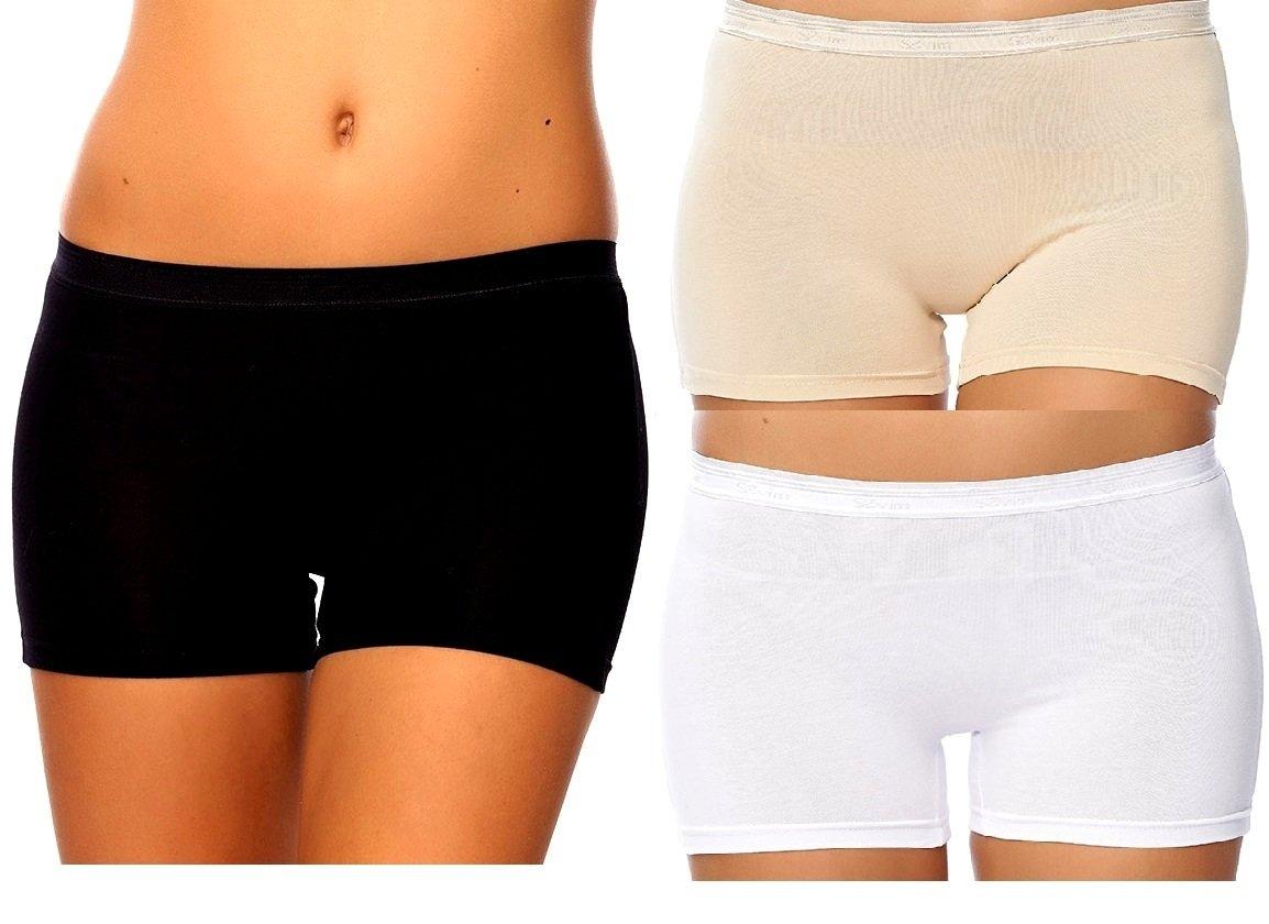 SEVIM Women's 3 Pack Comfortable Cotton Bike Yoga Boxer Brief Boyshort Large Black, White , Beige